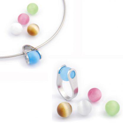 ISIS Jewels Ball Game hanger met 5 glasparels-1402