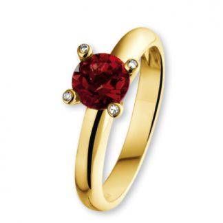 ISIS Jewels Aanschuifring van goud met granaat edelsteen-0