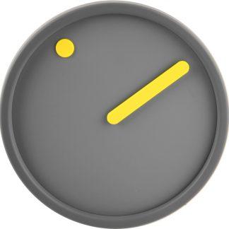 PICTO wandklok grijs-grijs-geel-0