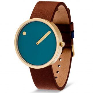 PICTO horloge goud-bruin-blauw-0
