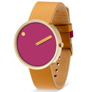 PICTO horloge goud-bruin-roze-0