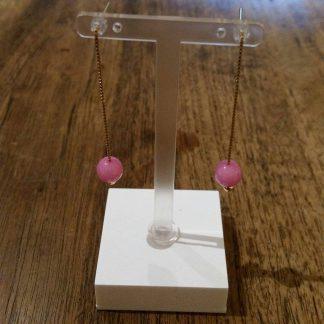 Eardrops fuchsia Roze Jade goud-0