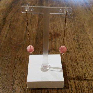 Eardrops roze- rood Jade goud-0