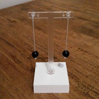 Eardrops zwart facet Onyx zilver-0