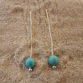 Eardrops turquoise Jade zilver-0