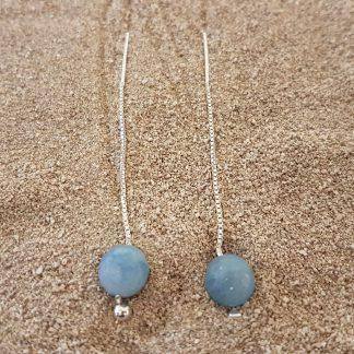 Eardrops blauw Jade zilver-0