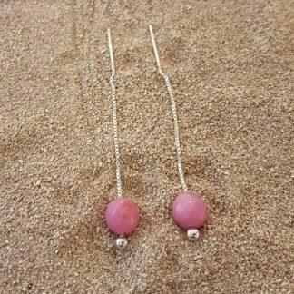 Eardrops fuchsia Roze Jade zilver-0