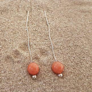 Eardrops oranjeJade zilver-0