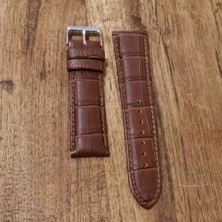 Horlogeband leather Croco chestnut-0