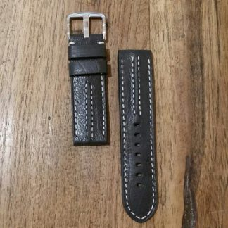 Horlogeband leather Vintage 3 black-0