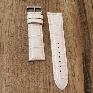 Horlogeband leather Croco creme-0